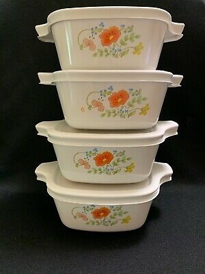 Vintage Corning Ware - WILDFLOWER - 4x Petite P-43-B with plastic lids - 32