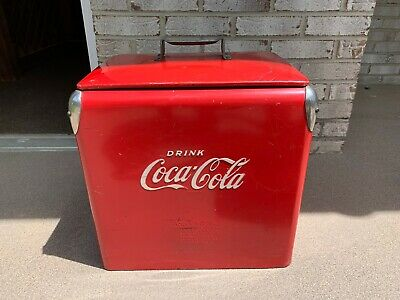 VTG 1950's Original Coke Coca Cola Metal Cooler w/ Lid Tray Bottle Opener Drain