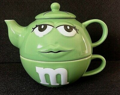 M & M 3 Piece  Set ADVERTISING TEAPOT - M & M's WORLD -By Mars Inc. NEW!!!