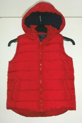 Girls Age 6-7 Years Red Gilet Bodywarmer Puffa Hooded Fully Lined Zipped With P