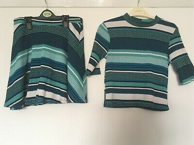 Girls River Island Top and Skirt age 9-10 Green and Blue Outfit Set