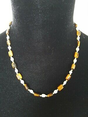 Tiger Eye Beads Cultured Freshwater Pearls Beaded Necklace With Gold Tone Clasp