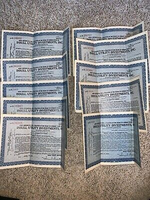 Lot of 10 Insull Utility Investments Fractional Scrip Certificates (1930-1931)