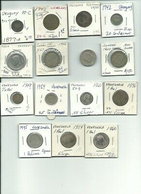 Lot Of 15 Vintage Foreign Silver World Coins -Free Usa Shipping