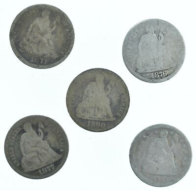 1873 1876 1890 1877 1857 Lot 5 Seated Liberty Dimes Collection *165