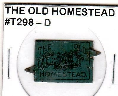 The Old Homestead Vintage Tin Lithographed Tobacco Tag