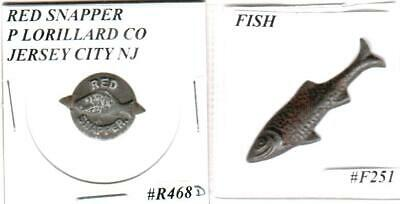 Red Snapper & Diecut Fish Vintage Tin Embossed Outstanding Tobacco Tags