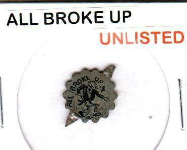 """""""All Broke Up"""" Cartoon Comical *Unlisted* Vintage Tin Lithographed Tobacco Tag"""