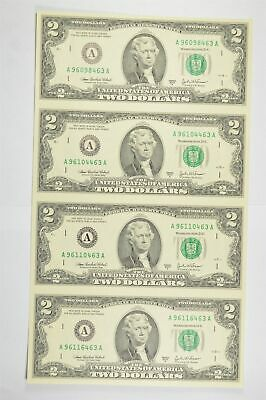 Rare** UNCUT SHEET 2003-A $2 Fed Res Notes Choice Unc Never Cut by Treasury *809
