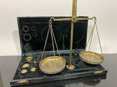 Vintage Collectible Brass Scale Weigh Scale w/Case