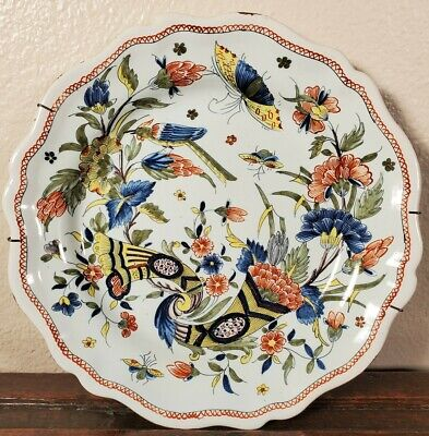 Antique French Cornucopia Faience Plate Rouen 18th 19th C Tin Glazed Majolica