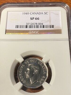 1949 Canada 5 Cents Ngc Sp66