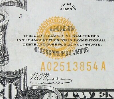 High Grade $20 1928 gold certificate A02513854A Single Year Issue twenty dollar