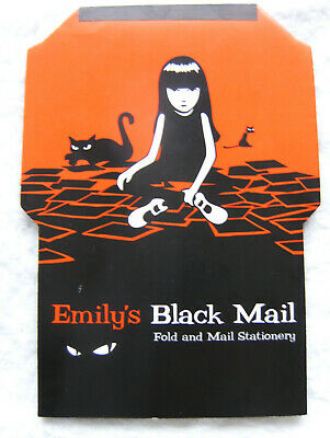 Emily the Strange Black Mail Fold and Mail Stationery 2001 ESP Cosmic Debris NOS