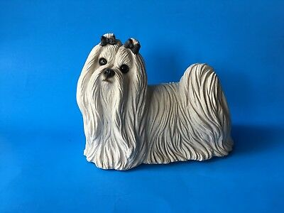 "1987 Sandicast Sculpture #157 White Maltese Signed Glass Eyes 8.5"" L"