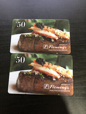 $100 Fleming's Prime Steakhouse Gift Card Lot - Physical Cards - Free Shipping!