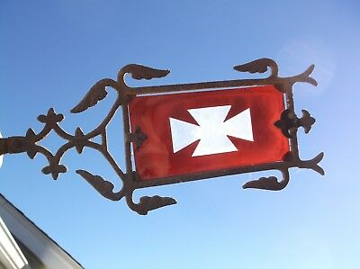 Antique Iron Lightning Rod Weathervane Arrow with Original Red Glass