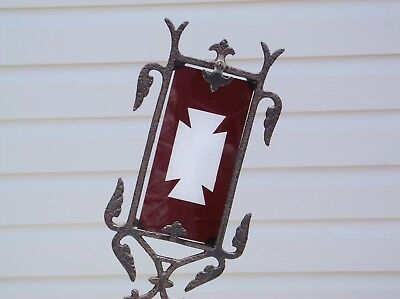 Antique Iron Lightning Rod Weathervane Arrow with Red Glass Tail