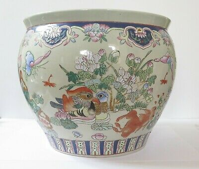 Large Chinese Famille Rose Enameled Porcelain Fish Bowl Jardiniere Reign Marking