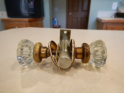 Vintage Heavy Clear Glass Door Knobs 12 Pt.Brass Handle Set - With Latch and Har