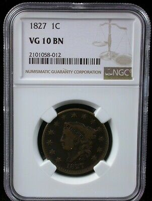 1827 1C Ngc Vg 10 Bn Coronet Head Large Cent 1827 One Cent