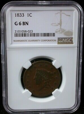 1833 1C Ngc G 6 Bn Coronet Head Large Cent 1833 One Cent