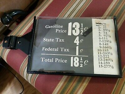 Original 1920s flanged Gas Pump Price Box Sign Visible Station Oil