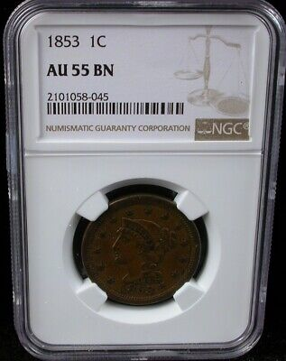 1853 1C Ngc Au 55 Bn Braided Hair Large Cent 1853 One Cent