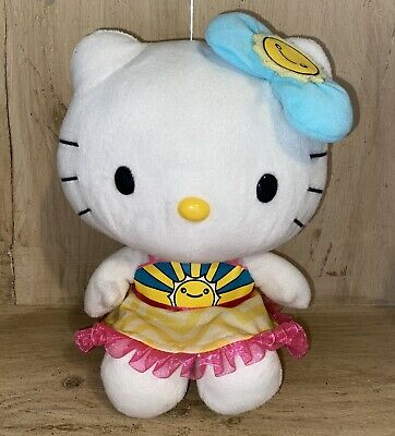 HELLO KITTY Plush Sun Bow Sun On Dress SANRIO Yellow Blue Pink RARE Stuffed