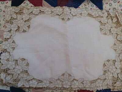 GORGEOUS Vtg MADEIRA  richelieu Linen placemats Embroidered Cutwork set of 6