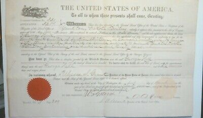 President Ulysses .S. Grant Autograph Land Deed.