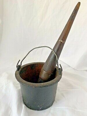 "ANTIQUE Vintage CAST IRON GLUE GREASE POT KETTLE brush 3"" high,workshop man cave"