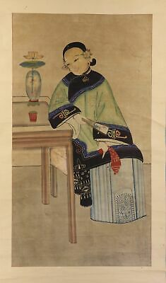 """CHINESE HANGING SCROLL ART Painting """"Chinese beauty"""" Asian antique  #E1455"""