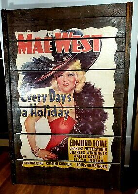 Vintage Movie Poster Art Antique Wooden Raisin Rack Mae West Every Days Holiday