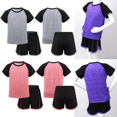 Kids Boys Girls Activewear Outfit Sport Exercise Tops T-shirt + Shorts Tracksuit