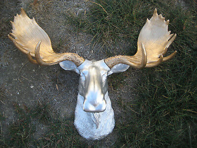 Large Silver Faux Moose Head Gold Antler Wall Mount  Taxidermy Wall Decor
