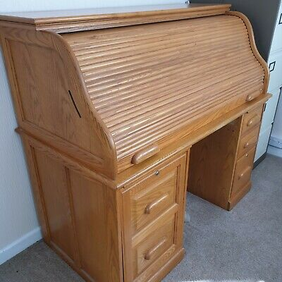 Golden Oak Furniture. Roll Top Top Desk.  Excellent Condition Collection Only