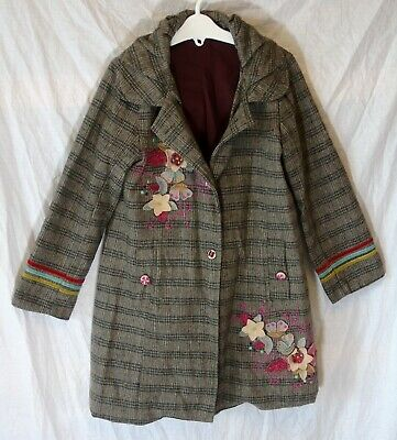 Girls Uttam Yumi Brown Check 100% Wool Applique Longline Jacket Age 4-5 Years