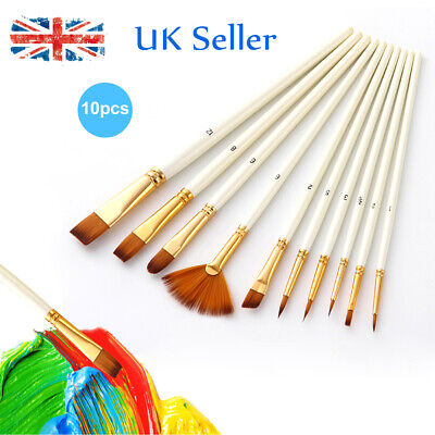 10pcs Artist Paint Brushes Set WATERCOLOUR ACRYLIC OIL Art Drawing Paintbrushes