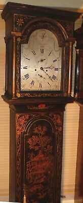 "Antique Black Lacquered 8 Day  ""  Malling "" Longcase / Grandfather Clock"
