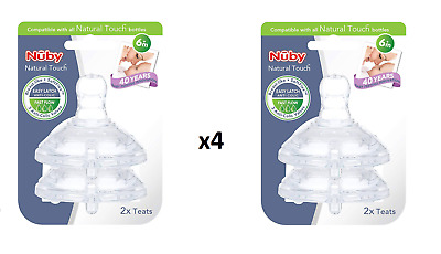 x4 Nuby Baby Teats Natural touch 6 month+