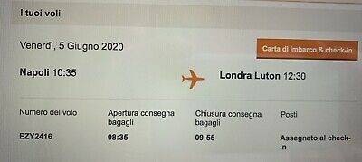 One Way EasyJet Flight from Naples to London Luton 5th June 2020 10.35am