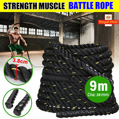 9M 38MM Battle Rope Power Battling Sport Bootcamp Gym Exercise Fitness Training