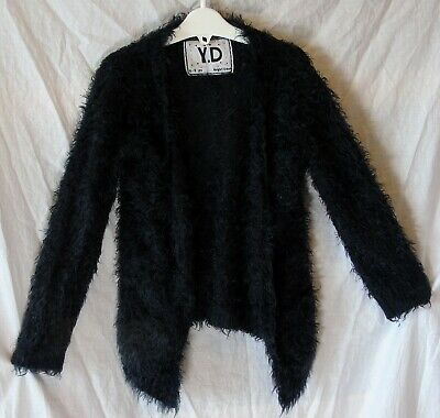 Girls Primark Midnight Blue Black Furry Fluffy Open Front Cardigan Age 8-9 Years