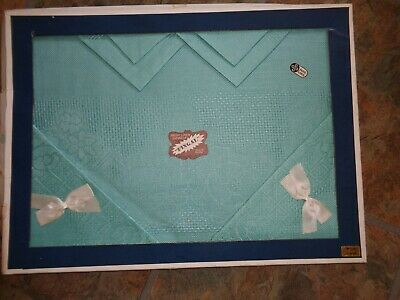 Vintage Irish Linen Tablecloth & 6 Napkins Duck Egg Blue