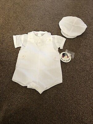 Bnwt Sarah Louise White Baby Boys Summer Romper With Hat Age 3 Months