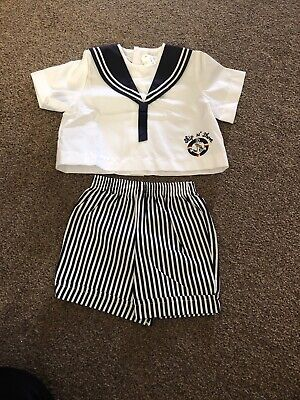 Bnwt Vintage Baby Boys Sailor Top And Shorts Set Age 3 Months