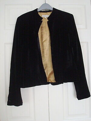 ~ LAURA ASHLEY ~ Silk Velvet VICTORIAN Style 8 Button Gold Lined JACKET Black 12