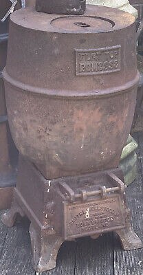 Antique Early Cast Iron Flat Top Romesse Pot Belly Log Burner Stove Incinerator