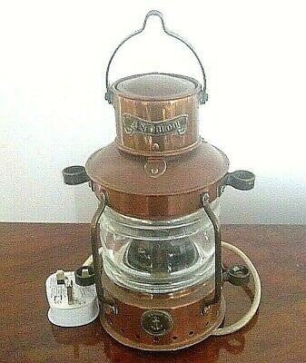 """Vintage Brass Ships Lantern Table Light by Cload of Plymouth UK - """"Anchor"""""""
